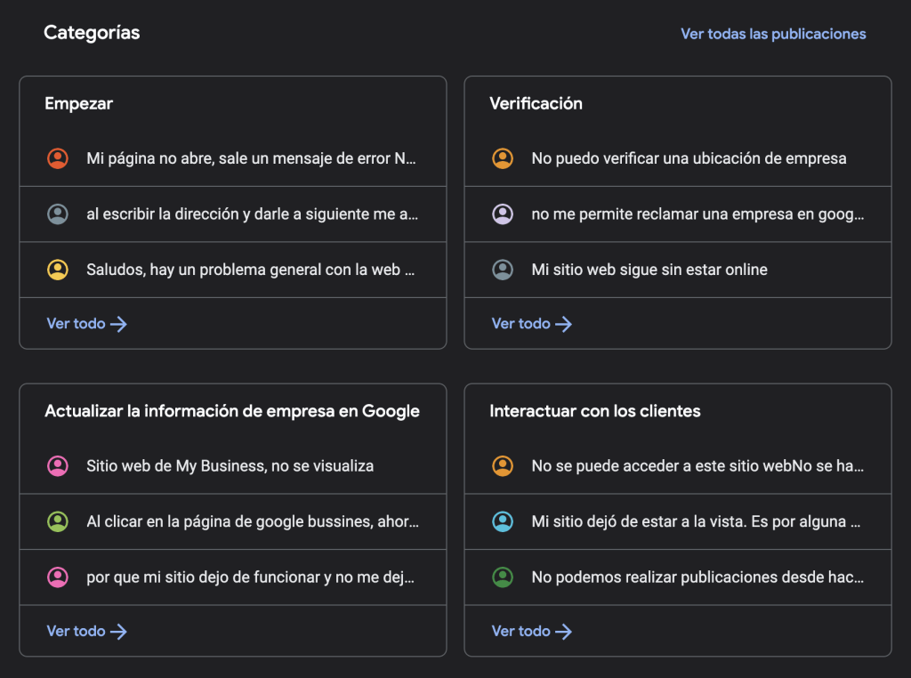 google my business contacto